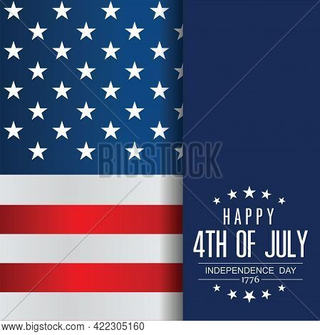 4th Of July Banner Vector Illustration. Independence Day, Us Flag With 4th Of July. Vector Illustrat
