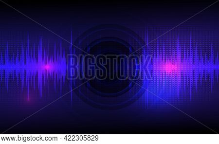 Sound Waves Oscillating Dark Blue And Light Pink With Circle Vibration, Dot Pattern. Abstract Techno