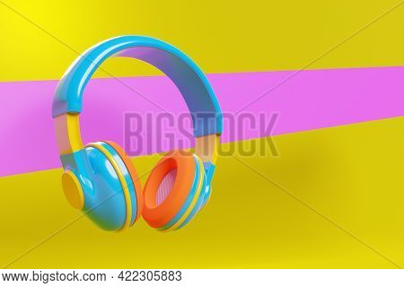 3d Illustration Realistic  Colorful   Headphones Isolated On  Pink And Yellow Background.sound Music