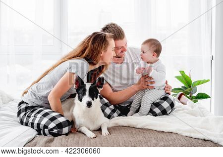 Family with baby boy sitting on the bed with cute dog. Mother and father holding their son on legs and smiling. Beautiful parenthood time. Pet with owners