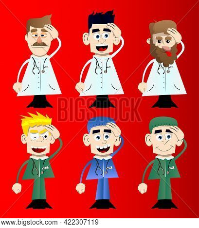 Funny Cartoon Doctor Placing Hand On Head. Vector Illustration. Health Care Worker With Problems Thi