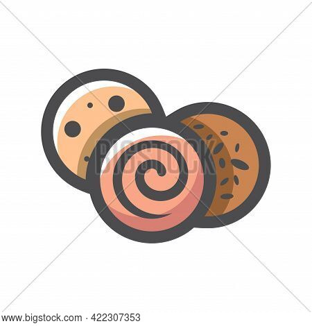 Sausage Slice Salami Vector Icon Cartoon Illustration.