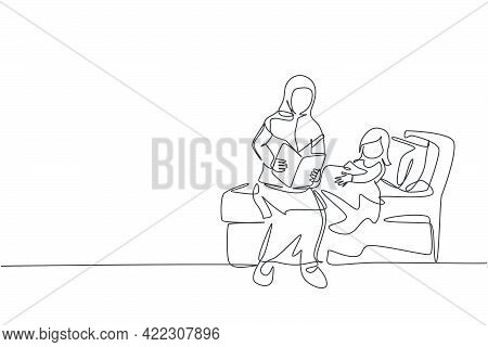 One Single Line Drawing Of Young Islamic Mom Read Bedtime Story Book To Her Daughter Before Sleep Ve