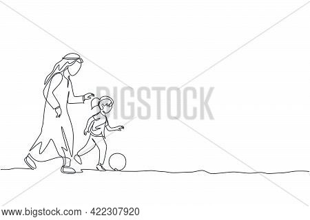 One Single Line Drawing Of Young Arabian Dad Playing Soccer With His Daughter Girl At Field Park Vec
