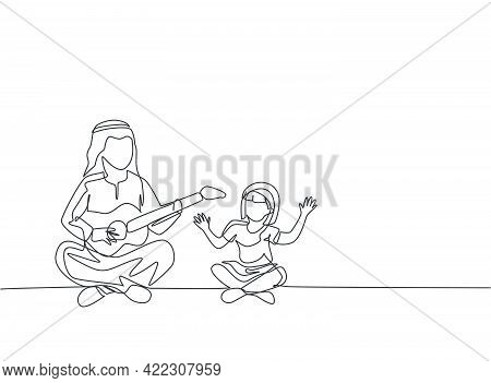Single Continuous Line Drawing Of Young Arabian Dad Entertain Her Daughter Playing Guitar On The Flo