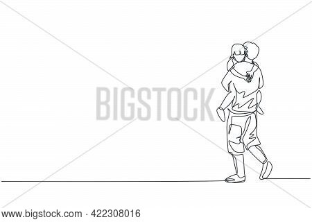 One Single Line Drawing Of Young Father Carrying His Sleepy Tired Daughter Go To The Bed Room Vector