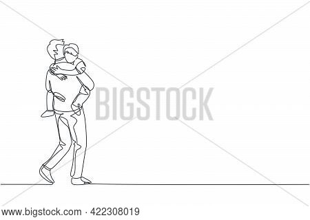 One Continuous Line Drawing Of Young Dad Carrying His Sleepy Tired Daughter Go To The Bed Room At Ho