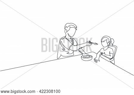 One Continuous Line Drawing Young Dad Feeding His Sick Fever Daughter While Siting On Dining Chair A