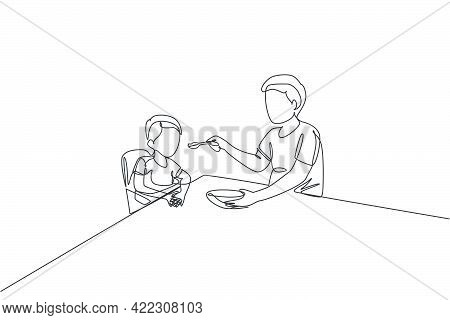 One Continuous Line Drawing Of Young Father Feeding His Sick Fever Son While Siting On Dining Chair