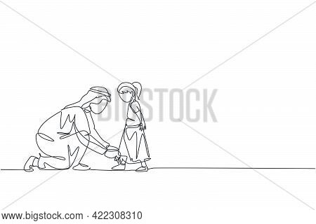 Single Continuous Line Drawing Of Young Islamic Father Help His Daughter To Tie Shoelaces Before Go