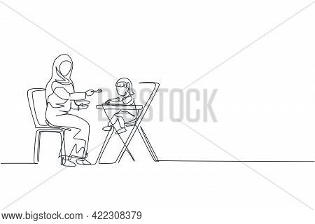One Continuous Line Drawing Of Young Islamic Mom Feeding Her Toddler Health Food On Baby Dining Tabl