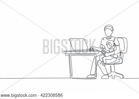 Single Continuous Line Drawing Of Young Dad Siting On Sofa And Holding His Daughter While Typing On
