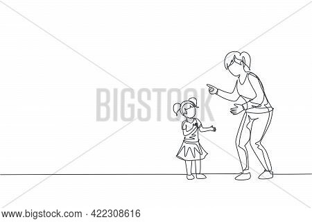 Single Continuous Line Drawing Of Young Mom Giving Talk Some Good Advice To Her Daughter At Home. Co