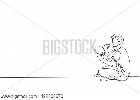 One Continuous Line Drawing Of Young Dad Sitting On Floor And Reading Story Book To His Daughter At