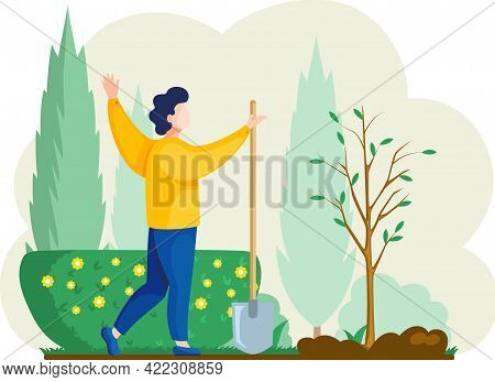Man With Shovel Digging Hole Illustration. Man Buries Seedling In Ground For Planting Trees. Profess