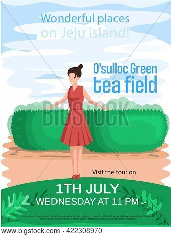 Travel Promotion Poster With Tour To Asia By Landmark Osulloc Tea Field In Jeju Island. Female Touri