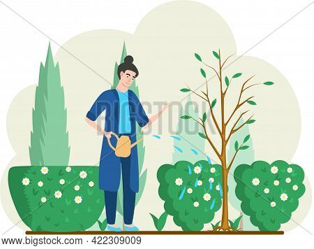 Girl Gardening Plant. Woman Planting Tree, Pours Water From Watering Can, Agriculture Gardener Hobby