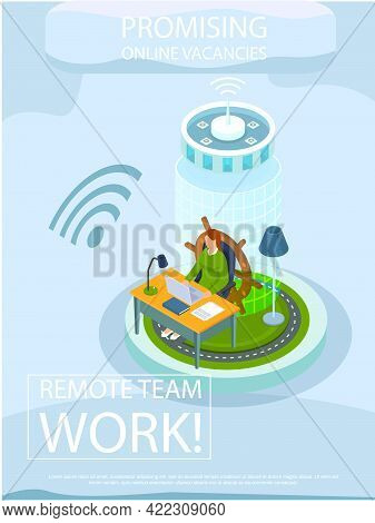 Promising Online Vacancies Employment Agency Promotion Banner For Remote Work, Business At Distance.