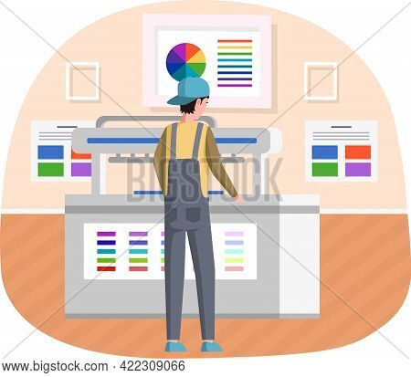 Young Man Working In Typography. Employee Works With Equipment. Print Shop Services, Printing Proces