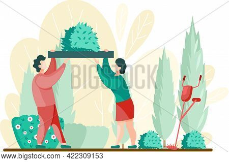 People Gardener And Farmer Work In Garden. Couple Gardening, Woman And Man Farmers Agricultural Work
