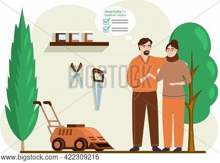 Gardeners Man And Woman Standing In Shed With Garden Tools And Lawn Mower. Worker Cutting Grass In G