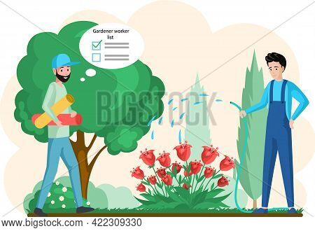 Spring Gardening Flat Composition With Characters Of Gardeners Working In Outdoor Garden Scenery Wit