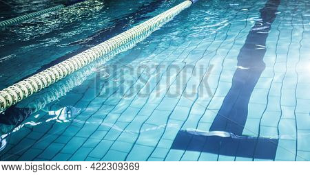 Composition of swimming pool with lanes and copy space. sport and competition concept digitally generated image.
