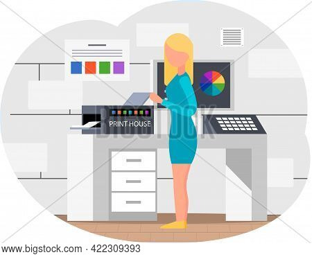Young Woman In Typography. Lady Standing Near Printing Equipment. Print Shop Services, Printing Proc