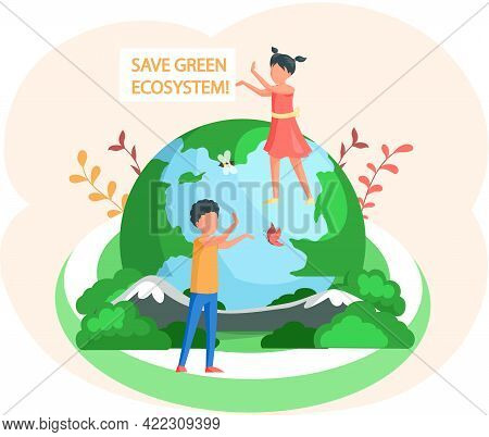 Nature And Ecology Modern Graphic Design Poster. Save Green Ecosystem On Earth. Children Catch Butte