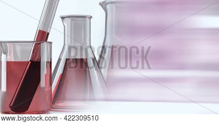 Composition of laboratory test tube and beakers with red liquid and copy space. research and science concept digitally generated image.