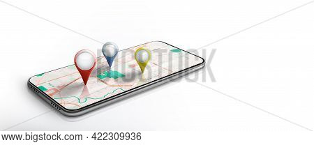 Map Navigation And Geolocation On Smartphone. Gps Satellite Application With Red Or Other Pin Point