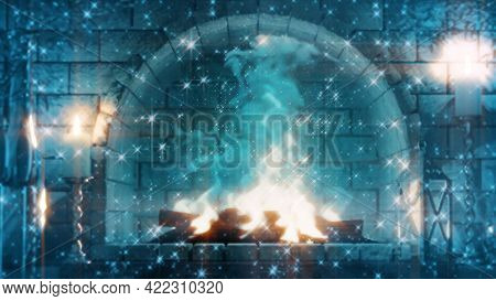 Mysterious Masonry Grate Fire Glowing , Object 3d Illustration