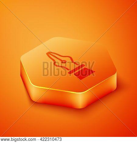 Isometric Fountain Pen Nib Icon Isolated On Orange Background. Pen Tool Sign. Orange Hexagon Button.