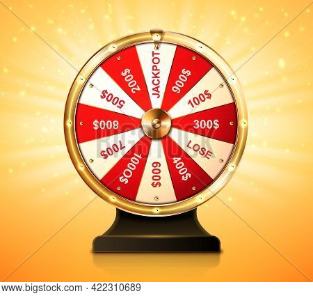 Golden Wheel Of Fortune For Lottery Game Or Casino. Chance To Win Prize In Lucky Roulette. Vector Re