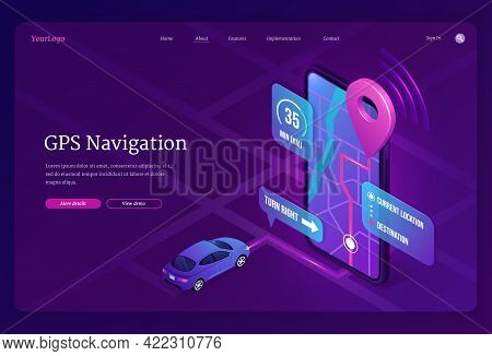 Gps Navigation Banner. Online Digital Service For Vehicle With Location Search On Mobile Phone. Vect