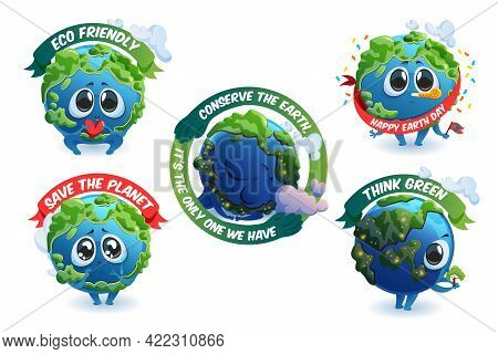 Emblems With Cute Earth Cartoon Character, Save Planet Concept With Mascot And Ecological Banners. T