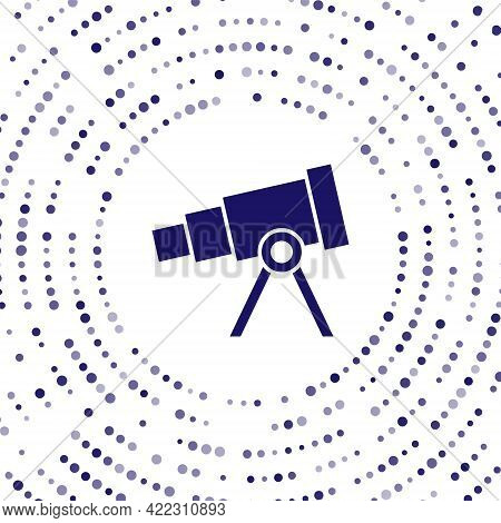 Blue Telescope Icon Isolated On White Background. Scientific Tool. Education And Astronomy Element,