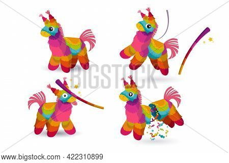Pinata And Stick For Birthday Party, Mexican Holiday And Carnival. Funny Toy From Rainbow Crepe Pape