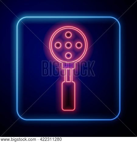 Glowing Neon Spatula Icon Isolated On Black Background. Kitchen Spatula Icon. Bbq Spatula Sign. Barb