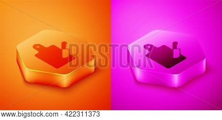 Isometric Cutting Board And Knife Icon Isolated On Orange And Pink Background. Chopping Board Symbol