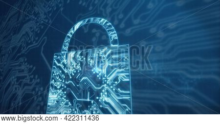 Composition of glowing computer microchip and motherboard padlock symbol on dark background. global computer and digital security concept digitally generated image.