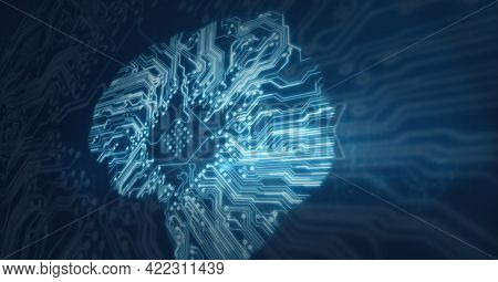 Composition of glowing computer microchip and motherboard on dark background. global computer and digital security concept digitally generated image.