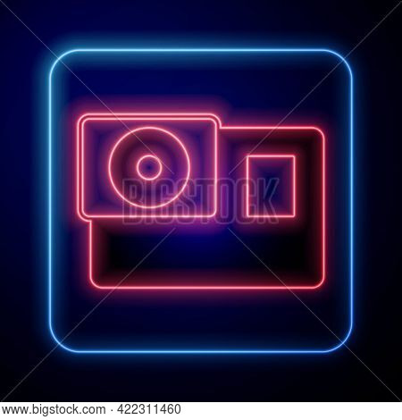 Glowing Neon Action Extreme Camera Icon Isolated On Black Background. Video Camera Equipment For Fil