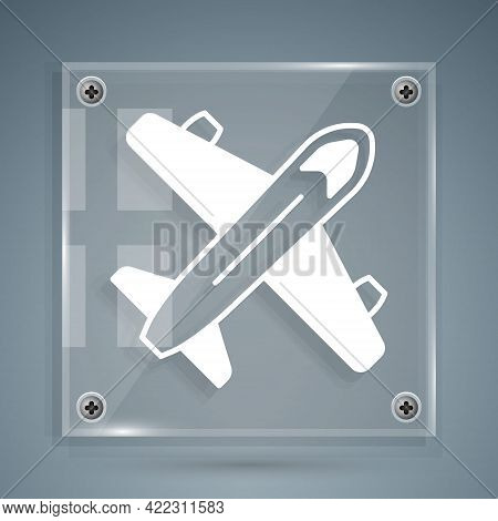 White Plane Icon Isolated On Grey Background. Flying Airplane Icon. Airliner Sign. Square Glass Pane
