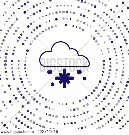 Blue Cloud With Snow Icon Isolated On White Background. Cloud With Snowflakes. Single Weather Icon.