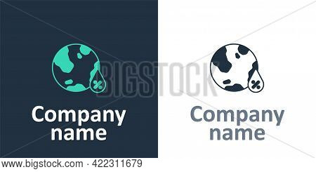 Logotype Water Drop Percentage Icon Isolated On White Background. Humidity Analysis. Logo Design Tem
