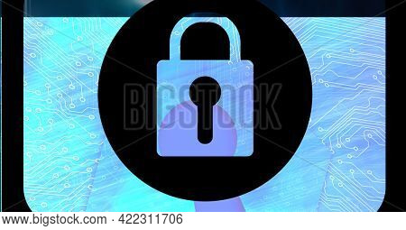 Composition of blue computer motherboard with padlock on central black circle, with black frame. global computer and digital security concept digitally generated image.