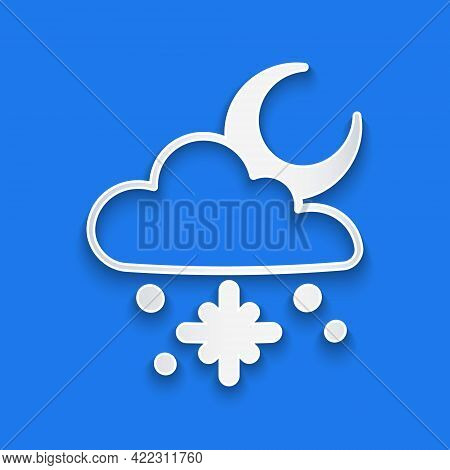 Paper Cut Cloud With Snow And Sun Icon Isolated On Blue Background. Cloud With Snowflakes. Single We