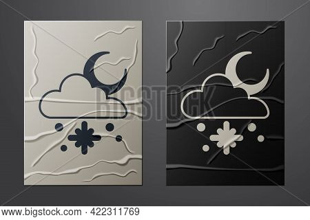 White Cloud With Snow And Sun Icon Isolated On Crumpled Paper Background. Cloud With Snowflakes. Sin
