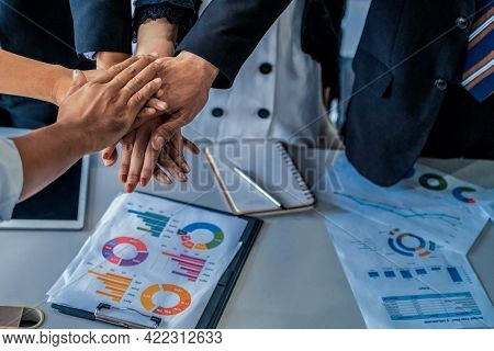 Many Happy Business People Stacking Hands Together With Joy And Success. Company Employee Celebrate
